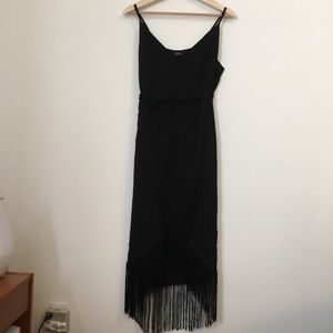 Black asos dress with fringe